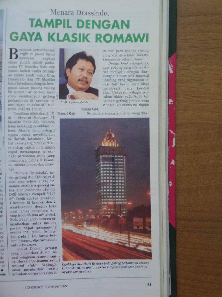 Halaman 43 majalah Konstruksi yang menyangkut Menara Saidah semasa dibangun.