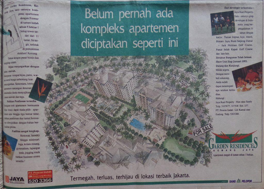 Iklan Apartemen Kemang Jaya Taman, Kompas 9 Desember 1992