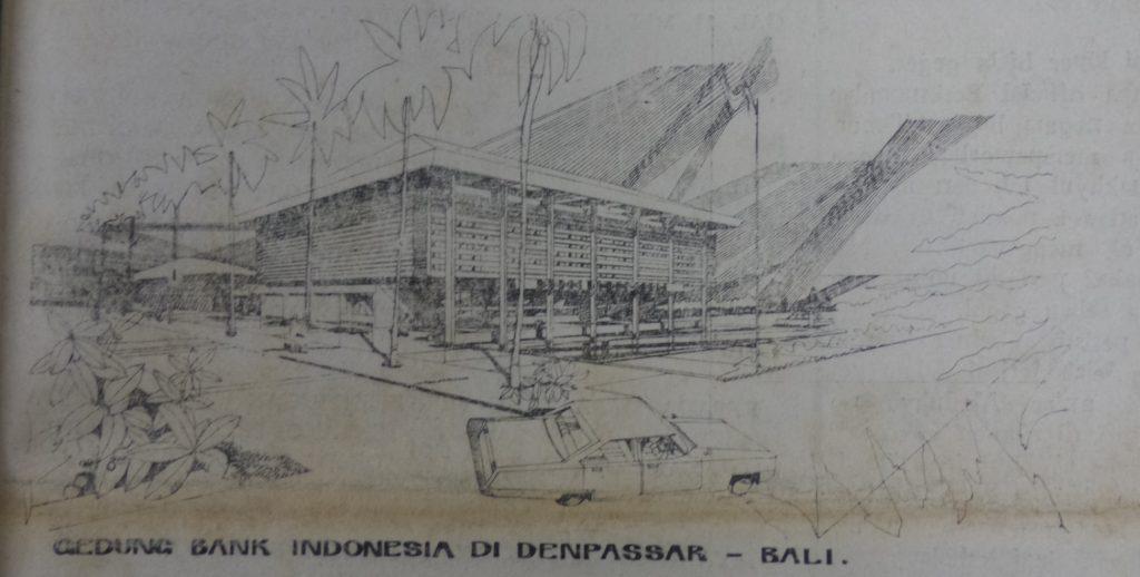 Sketsa Gedung Bank Indonesia di Denpasar, Bali, diambil dari Bali Post 22 Juli 1973
