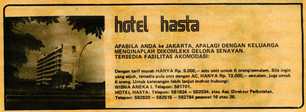 Iklan Hotel Hasta pada tahun 1976, menawarkan akomodasi ala hostel.